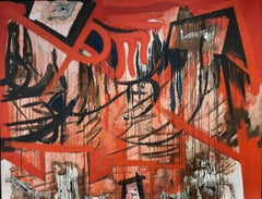 ENORMOUS FRENCH ABSTRACT OIL - MEMORIES OF SPAIN INSPIRED BY GUERNICA PICASSO