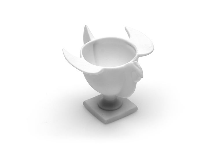 A fine piece of sculptural porcelain, by the famed Claude Lalanne. This comes in the form of a bird meant originally as a cup. This rare and elegant piece was made by Porcelaine de Paris/Artoria on behalf of Claude Lalanne.  Measures: 3.5 x 3.25 x