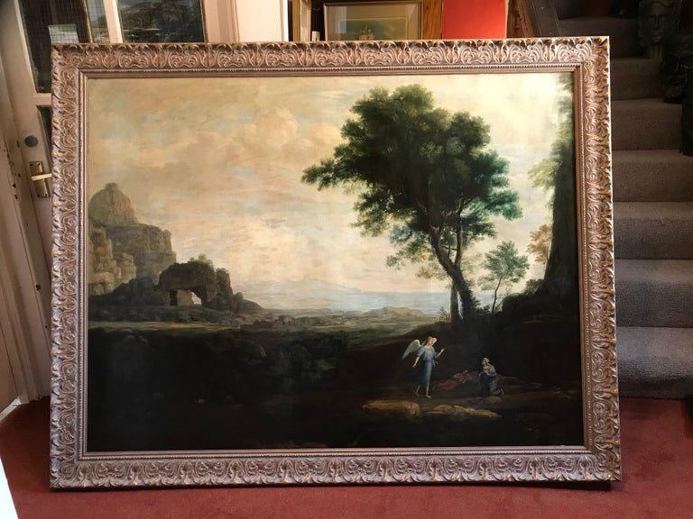 Enormous Classical Landscape, Hagar & The Angel - Painting by Claude Lorrain (circle of)