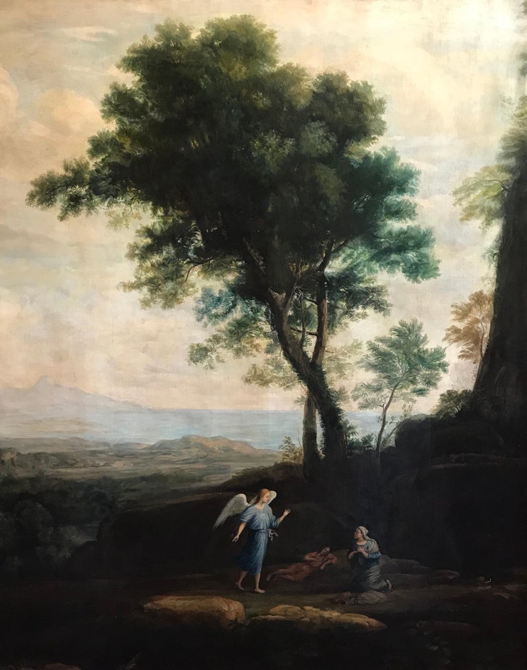 Enormous Classical Landscape, Hagar & The Angel - Old Masters Painting by Claude Lorrain (circle of)