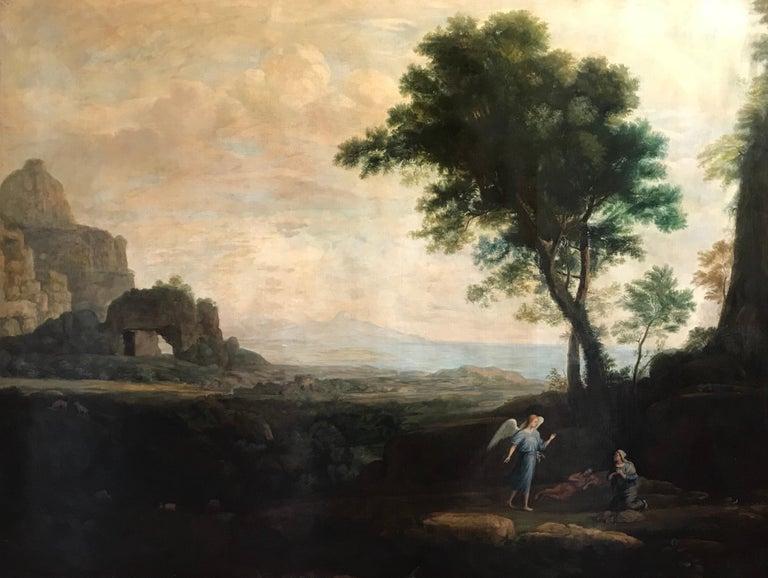 Claude Lorrain (circle of) Landscape Painting - Enormous Classical Landscape, Hagar & The Angel
