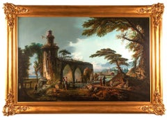 Oil painting; Italian Landscape in the style of Claude Lorraine (1600-1682).