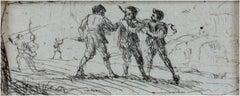 """""""Etude d'Une Scene du Brigands (Study),"""" Etching by Claude Gellee (Le Lorrain)"""