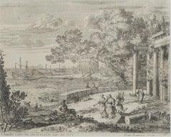 """Harbour Scene,"" Engraving Landscape signed by Claude Gellee (Le Lorrain)"