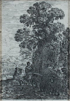 """Le Patre et la Bergere (The Herdsmen & Shepherdess),"" Etching by Claude Gellee"