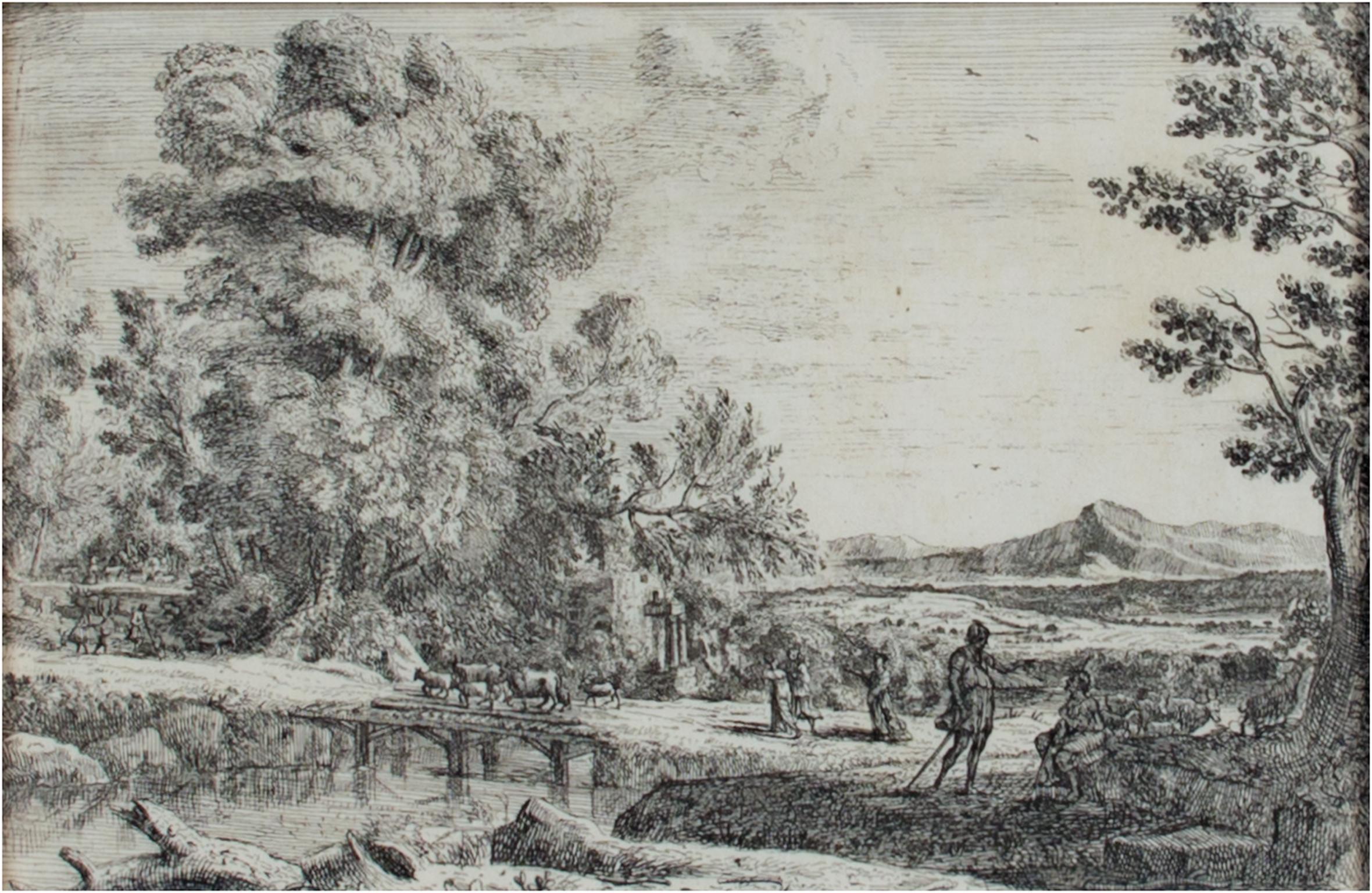 """""""Le Point de Bois (Rebecca & Eliezer),"""" etching by Claude Gellee (Le Lorrain)"""