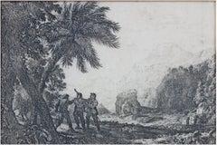 """Scene de Brigands,"" Landscape Etching signed by Claude Gellee (Le Lorrain)"