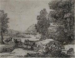 """Shepherd and Shepherdess Conversing in a Landscape,"" Claude Gellee (Le Lorrain)"