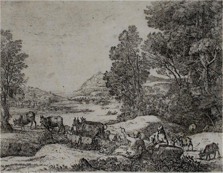 "Claude Lorrain Landscape Print - ""Shepherd and Shepherdess Conversing in a Landscape,"" Claude Gellee (Le Lorrain)"