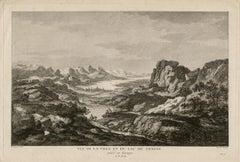 Vue de la Ville et du Lac de Geneve, Switzerland, copper-line engraving, c1780
