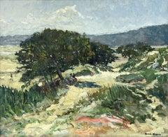 Large French Impressionist Signed Oil Figures in Summer Landscape beside Estuary