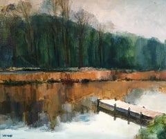 Reflection on the Water, French Impressionist Landscape, Oil Painting, Signed