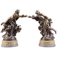 Claude Michel 'Clodion', 1738-1814, Bronze Pair, Venus and Cupid, with 7 Putti