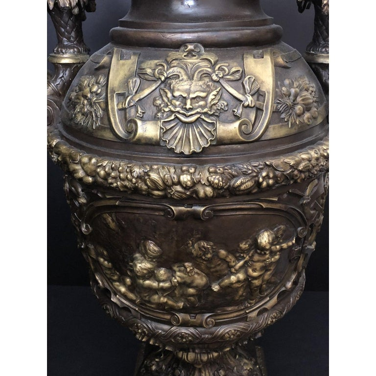 French Claude Michel Clodion Doré Patinated and Gilt Bronze Vase For Sale
