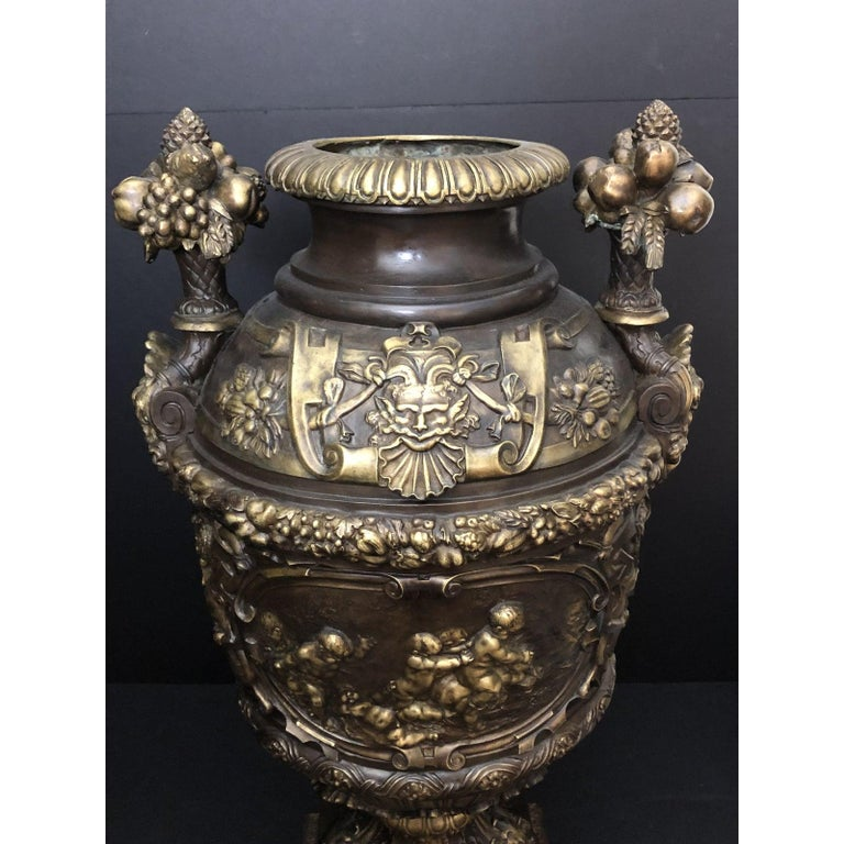 Claude Michel Clodion Doré Patinated and Gilt Bronze Vase In Good Condition For Sale In Norwood, NJ