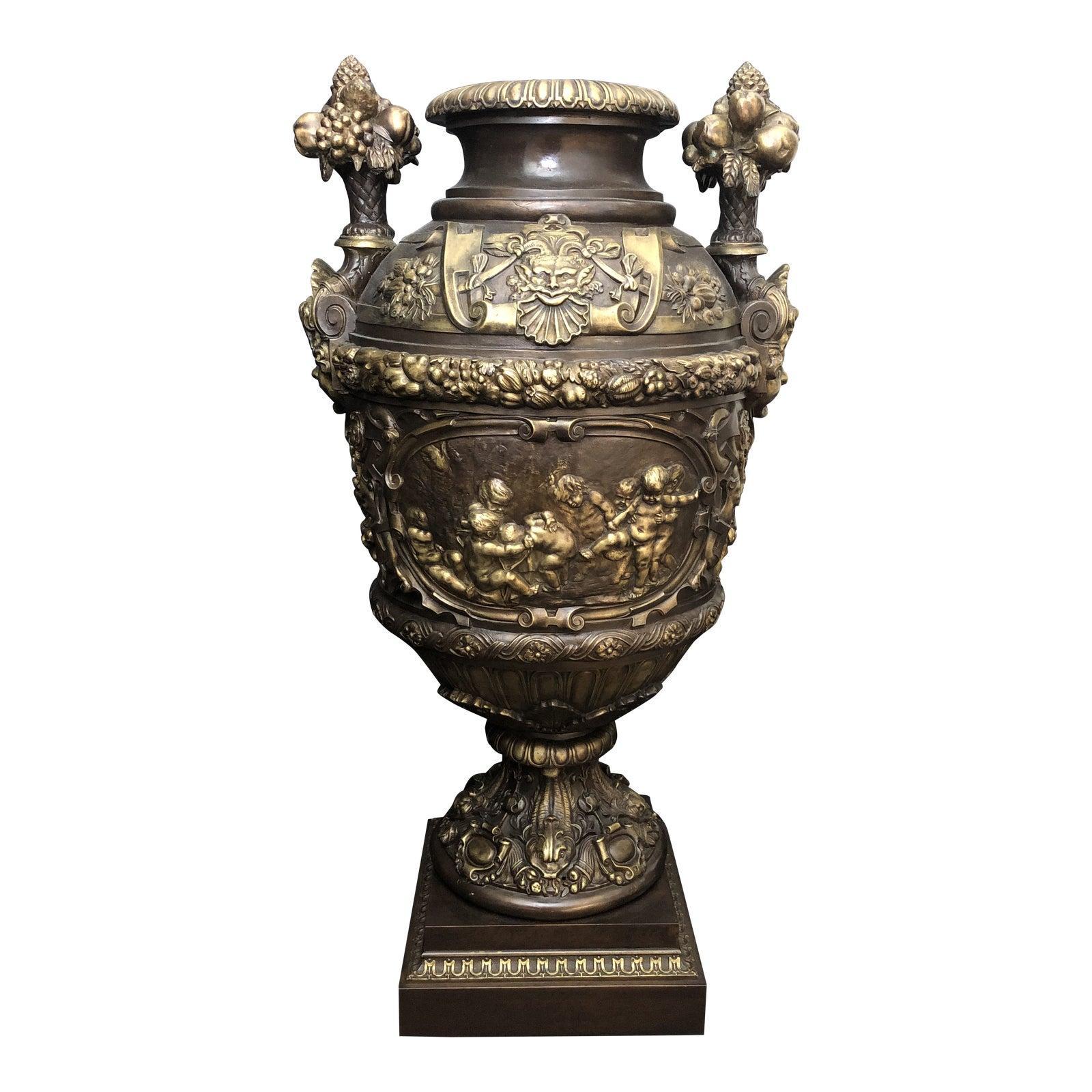 Claude Michel Clodion Doré Gilt and Patinated Bronze Vase