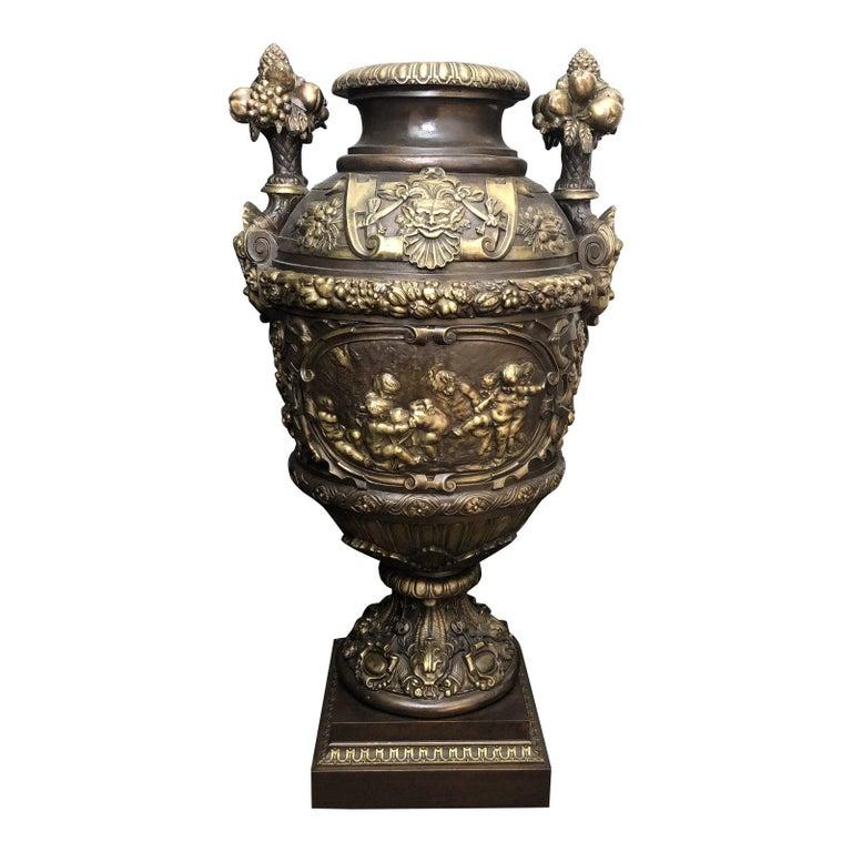 Claude Michel Clodion Doré Patinated and Gilt Bronze Vase For Sale