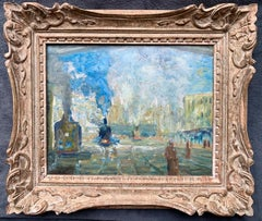 French 19th century Impressionist cityscape painting of a Station - Monet Paris