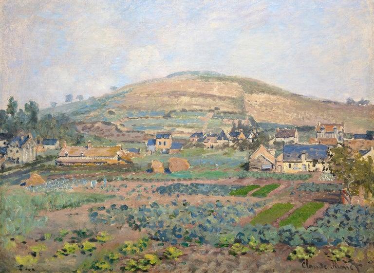 "A painting by Claude Monet. ""Le Mont Riboudet a Rouen au Printemps"" is an oil on canvas, landscape painting by Impressionist master Claude Monet. Monet's ""Le Mont Riboudet a Rouen au Printemps"" is executed in a soft palette primarily of greens,"