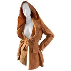 Claude Montana 1980 Orange Linen Jacket with Wide Lapel Hood