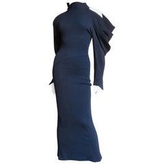 Claude Montana Asymmetric Sleeve Maxi Dress
