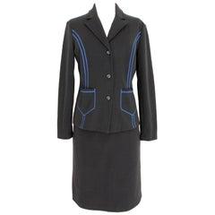 Claude Montana Black Blue Polyurethane Casual Skirt Suit