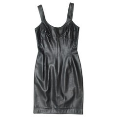 Claude Montana Black Fitted Leather Dress