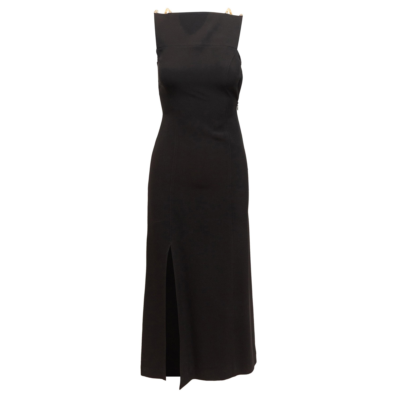 Claude Montana Black Sleeveless Evening Dress