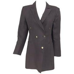 Claude Montana Brown Linen Drape Open Back Jacket 1980s