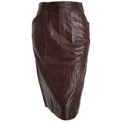 Claude MONTANA brown slanted front pockets lambskin leather skirt - Unworn, New
