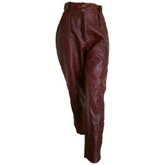 Claude MONTANA burgundy leather pants.