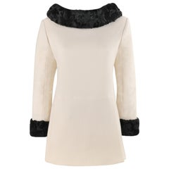 CLAUDE MONTANA c.1980's Ivory Crepe Black Persian Lamb Mini Dress / Long Top