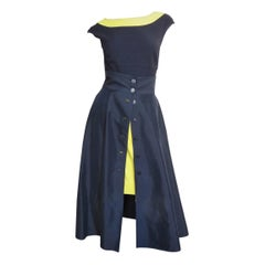 Claude Montana Color Block Full Skirt, Pencil Skirt and Bodysuit Set