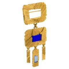 Claude Montana Futurist Gilt Metal Dangle Pin Brooch with Blue Cabochon