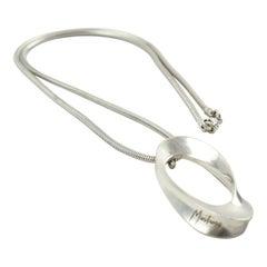 Claude Montana Futurist Silver Plate Pendant Necklace