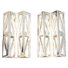 Claude Montana Geometric Silver Plate Runway Earrings Pair Of Vintage
