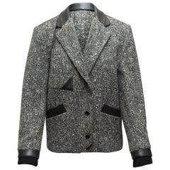 Claude Montana Grey & Black Tweed Leather-Trimmed Blazer