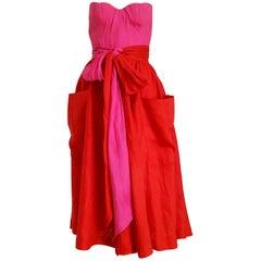 Claude MONTANA Haute Couture, single pc unique design, bands waist dress, Unworn