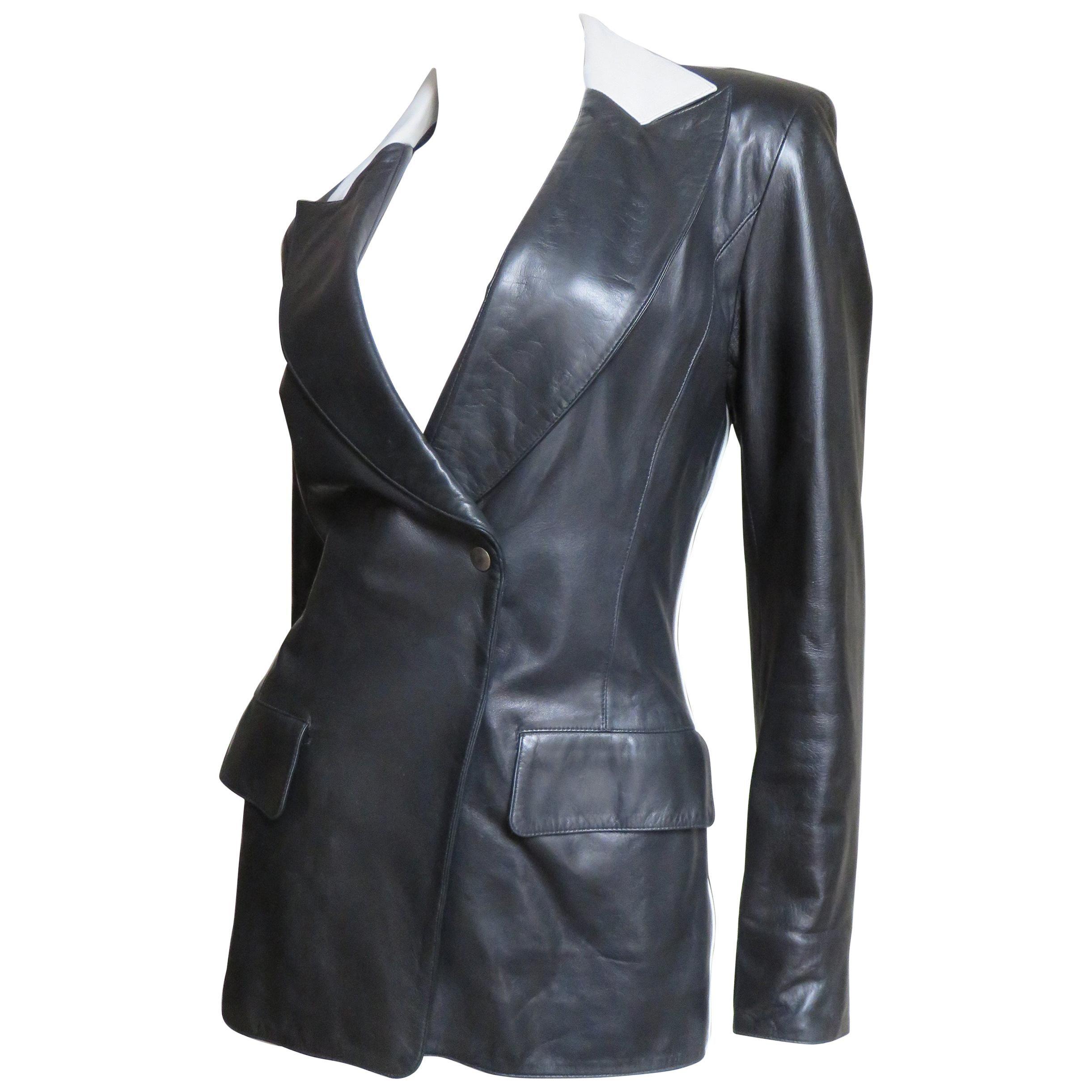 Claude Montana Leather Color Block Jacket