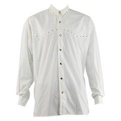Claude Montana Men's Vintage White Cotton Studded Party Shirt, 1980s