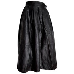 """Claude MONTANA """"New"""" Black Lamb Leather Buttons and Buckle Skirt - Unworn"""