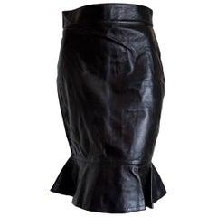 "Claude MONTANA ""New"" Black Lambskin Leather High Waistband Skirt - Unworn"