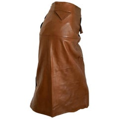 """Claude MONTANA """"New"""" Brown Buttons on the Back Leather Skirt - Unworn"""