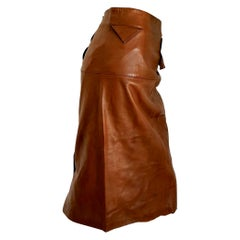 "Claude MONTANA ""New"" Brown Buttons on the Back Leather Skirt - Unworn"