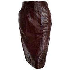 "Claude MONTANA ""New"" Brown Slanted Front Pockets Lambskin Leather Skirt - Unworn"