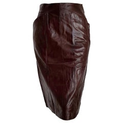 "Claude MONTANA ""New"" Brown Slanted Front Pockets Lambskin Leather Skirt - Unworn"