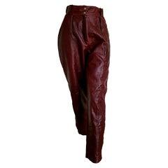 "Claude MONTANA ""New"" Burgundy Lamb Leather Pants. Unworn."