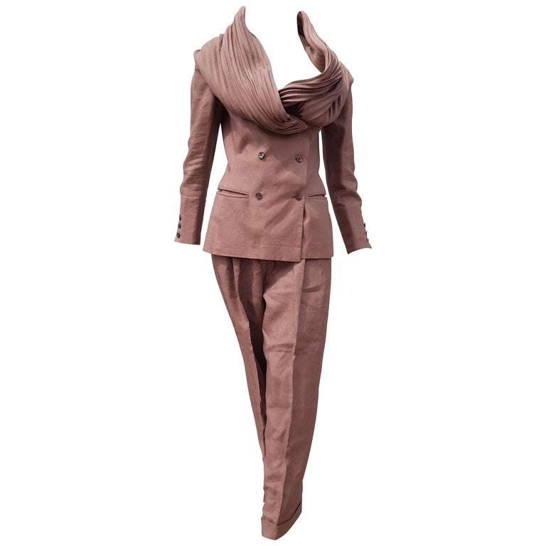 "Claude MONTANA ""New"" Couture Brown Burgundy Pleated Collar Linen Suit - Unworn For Sale"