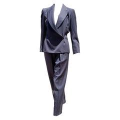 """Claude MONTANA """"New"""" Haute Couture Blue Wool Pants Suit - Unworn"""