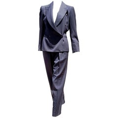 "Claude MONTANA ""New"" Haute Couture Blue Wool Pants Suit - Unworn"